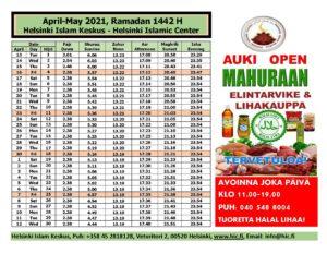 Ramadan 2021 aikataulut